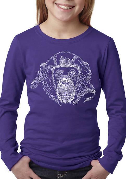 Girls 7-16 Word Art Long Sleeve Graphic T-Shirt - Chimpanzee