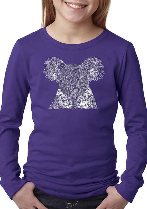 Girls 7-16 Word Art Long Sleeve T-Shirt - Koala
