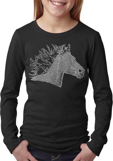 Girls 7-16 Word Art Long Sleeve T-Shirt - Horse Mane