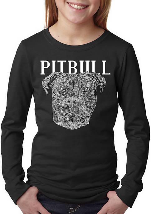 Girls 7-16 Word Art Long Sleeve T-Shirt - Pitbull Face