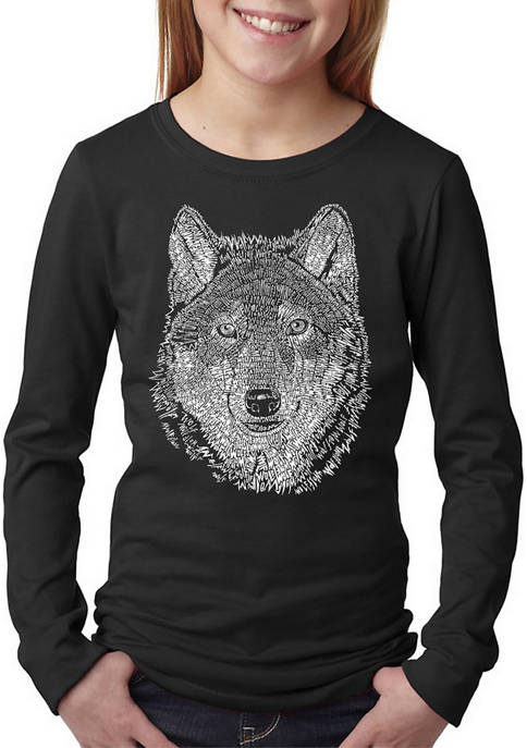 Girls 7-16 Word Art Long Sleeve T-Shirt - Wolf