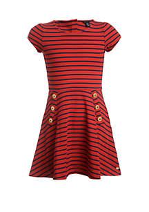 Tommy Hilfiger Girls 7-16 Short Sleeve Yarn Dyed Stripe Piqué Dress