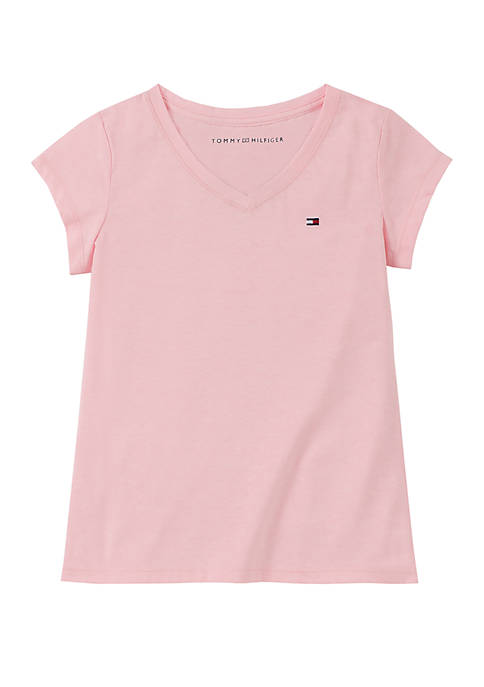 Girls 7-16 Signature Solid V Neck Tee