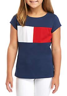 Tommy Hilfiger Girls 7-16 Pieced Flag T Shirt