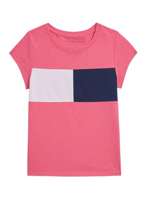 Girls 7-16 Short Sleeve Flag T-Shirt