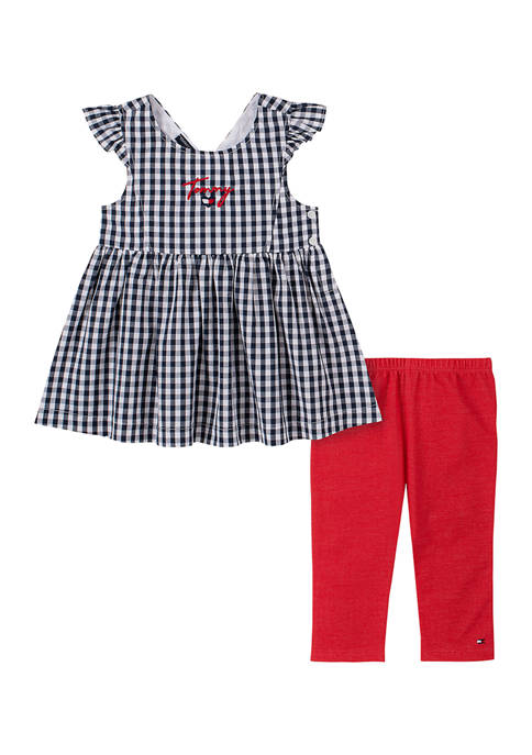 Girls 4-6x 2-Piece Gingham Tunic and Red Capris Set