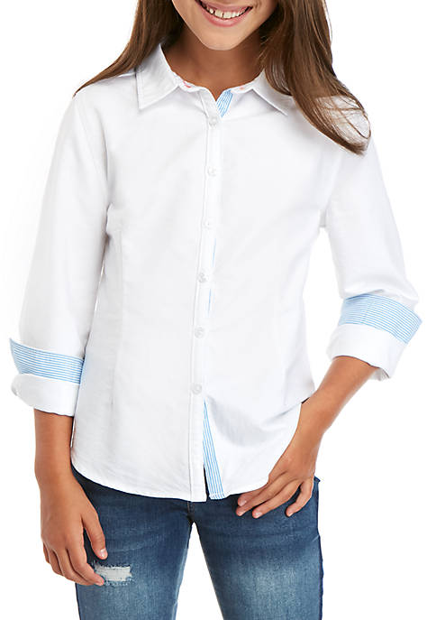 Tommy Hilfiger Girls 7-16 Tie Front Oxford Shirt