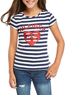 Tommy Hilfiger Girls 7-16 Heart Stripe T Shirt