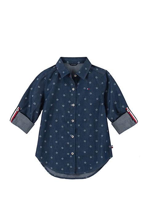 Girls 7-16 Star Print Denim Shirt