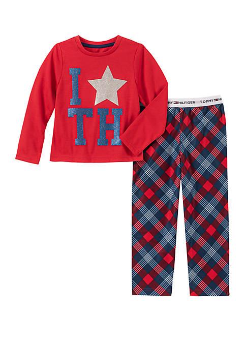 Girls 4-16 2 Piece Star Plaid Pajama Set