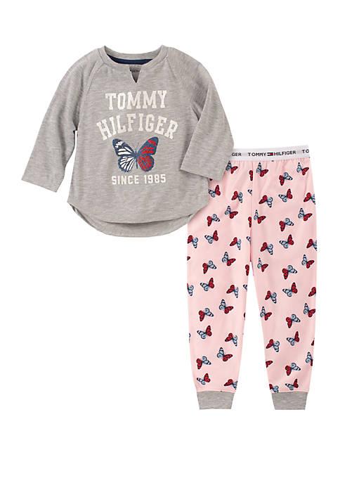 Girls 4-16 2 Piece Butterfly Pajama Set