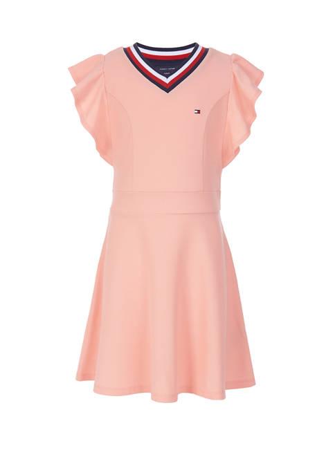 Girls 7-16 Ruffle Pique Dress