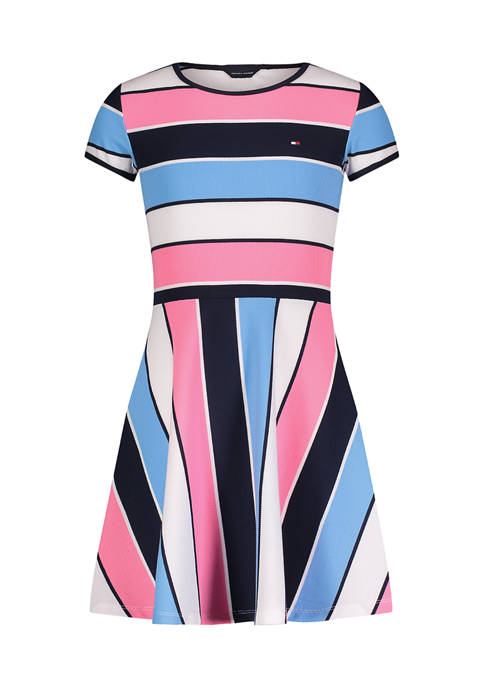Girls 7-16 Short Sleeve Stripe Ribbed Dress