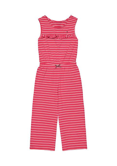 Tommy Hilfiger Girls 7-16 Sleeveless Striped Ruffle Jumpsuit