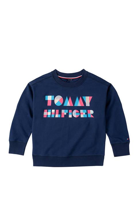 Girls 7-16 Hologram Crew Neck Sweatshirt