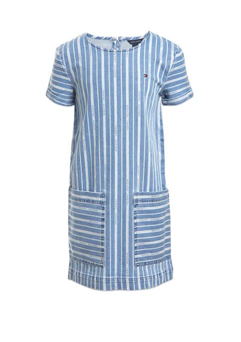 Girls 7-16 Short Sleeves Striped Denim Shift Dress