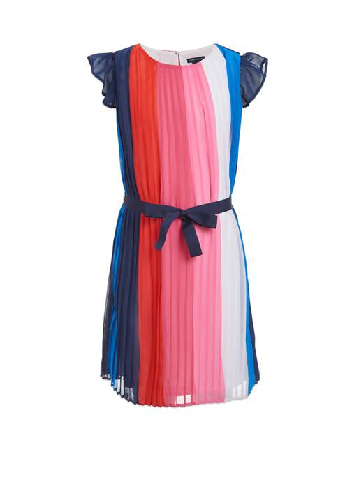 Girls 7-16 Short Sleeve Color Block Pleated Chiffon Dress