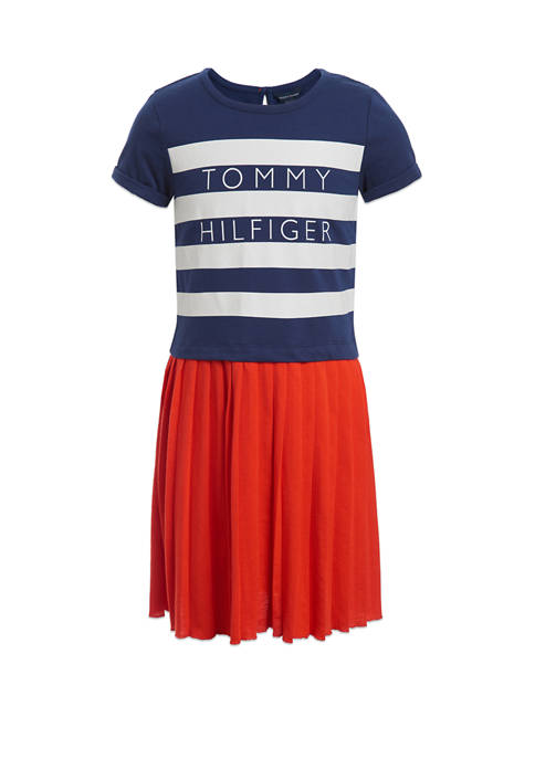 Girls 7-16 Short Sleeve Pleated Knit 2Fer Dress