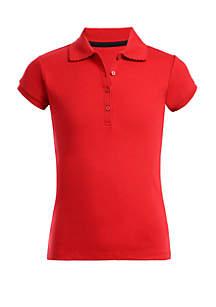 Nautica Girls 7-16 Plus Size Short Sleeve Polo Shirt