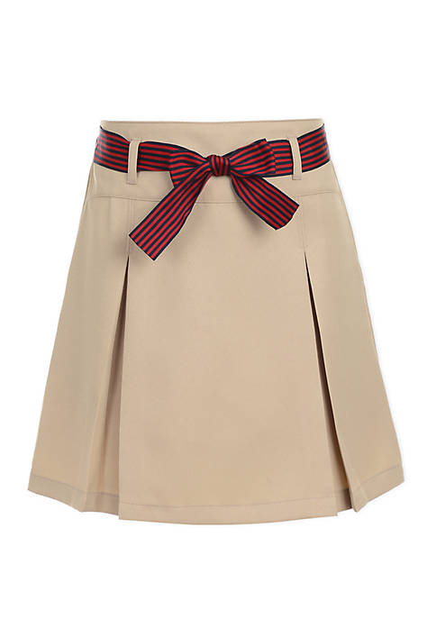 Girls 7-16 Pleated Scooter Skort with Striped Bow