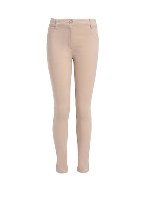 Girls 7-16 Sateen Skinny Pants with Adjustable Waistband
