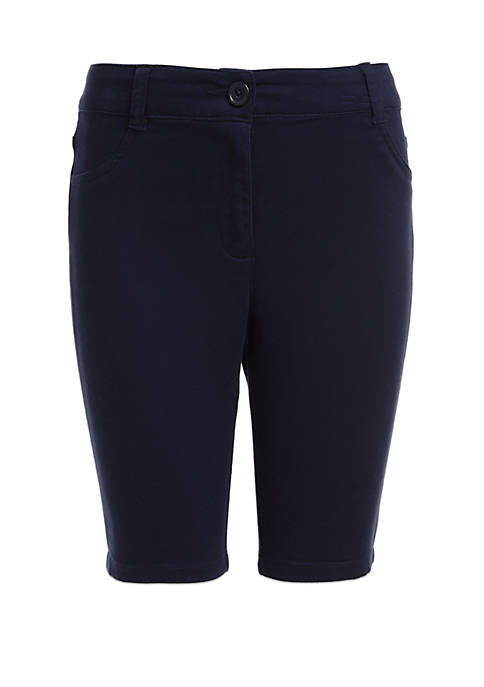 Nautica Girls 7-16 Sateen Bermuda Shorts with Adjustable