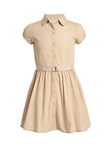 Nautica Girls 7-16 Short Sleeve Belted Shirt Dress