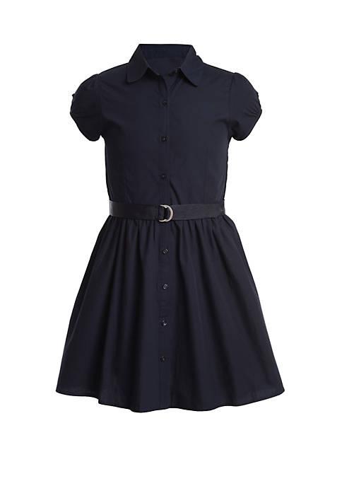 Girls 4-6x Short Sleeve Belted Shirt Dress