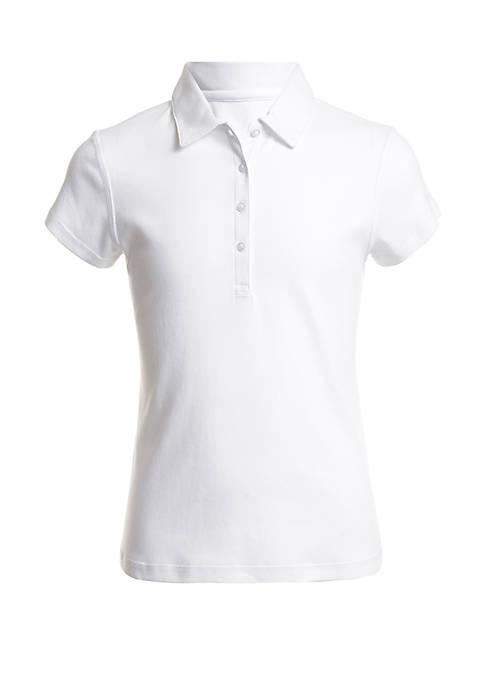 Nautica Girls 4-6x Short Sleeve Interlock Polo Shirt