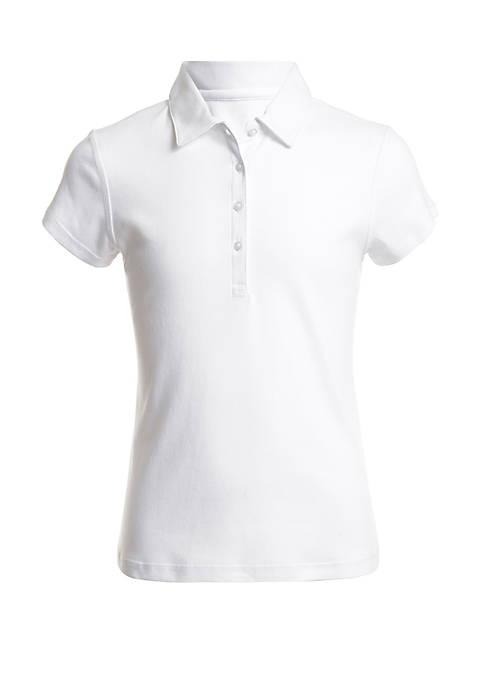 Nautica Girls 7-16 Sensory Short Sleeve Interlock Polo