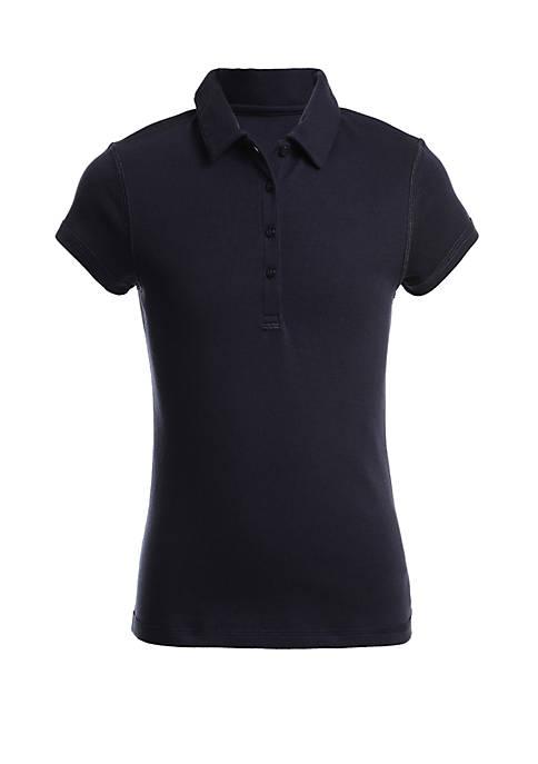 Girls 7-16 Sensory Short Sleeve Interlock Polo Shirt