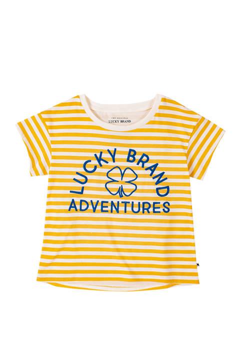 Girls 7-16 Short Sleeve Striped Graphic T-Shirt