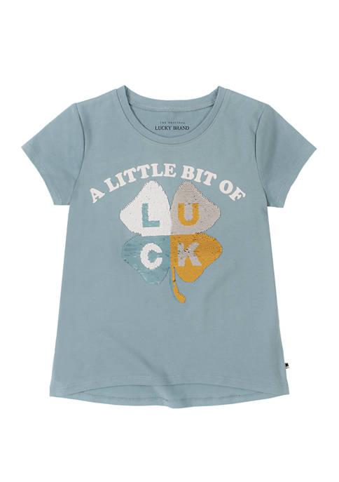 Lucky Brand Girls 7-16 Short Sleeve Clover Graphic