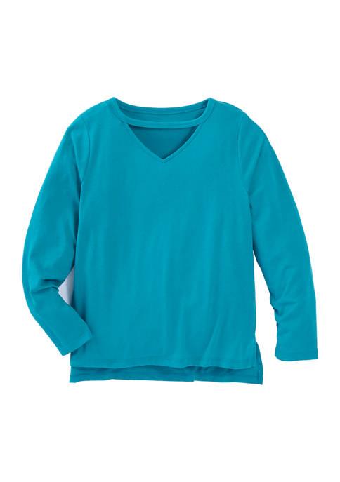 ZELOS Girls 7-16 Cutout V-Neck Long Sleeve T-Shirt