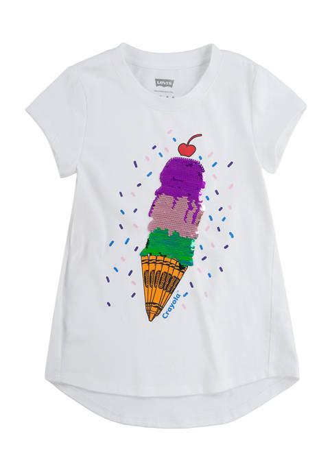 Girls 4-6x Short Sleeve Ice Cream Cone Graphic T-Shirt