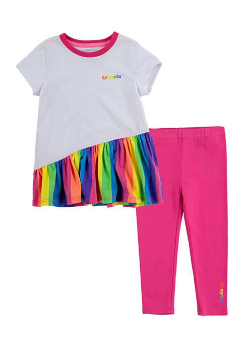 Crayola® Girls 4-6x Asymmetrical T-Shirt and Leggings Set