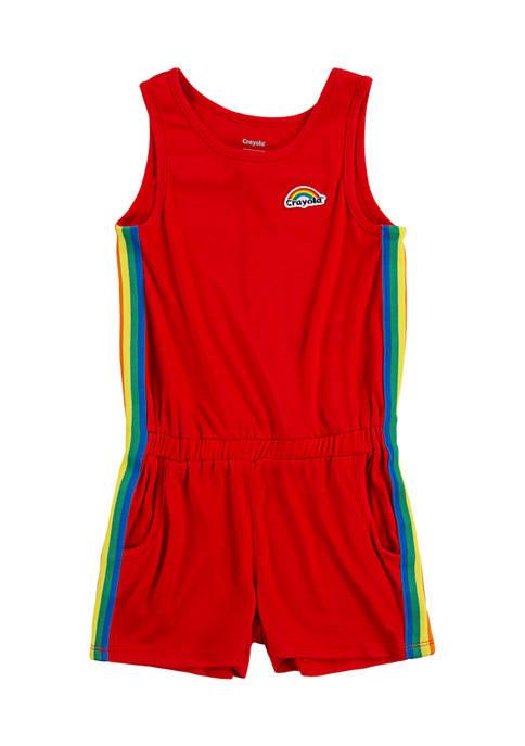 Crayola® Girls 4-6x Rainbow Stripe Romper