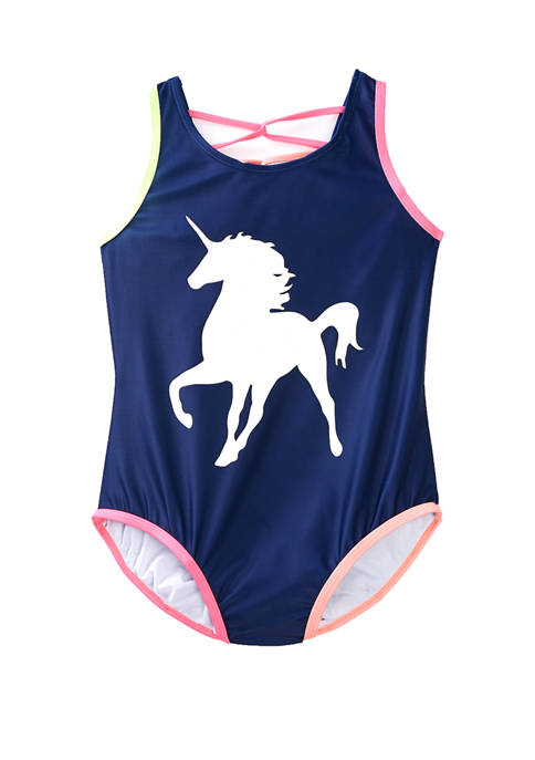 Girls 7-16 Blue Unicorn Color Changing Graphic One Piece Swimsuit