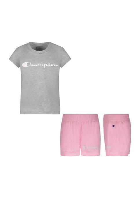 Champion® Girls 4-6x 2 Piece T-Shirt and Shorts