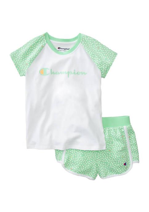 Champion® Girls 4-6x Polka Dot Shorts and T-Shirt