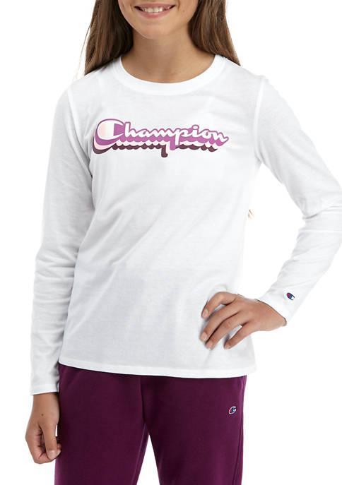 Champion® Girls 7-16 Long Sleeve Logo T-Shirt