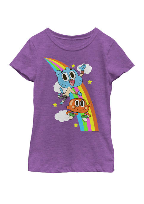 Gumball And Darwin Rainbow Clouds Short Sleeve Graphic T-Shirt