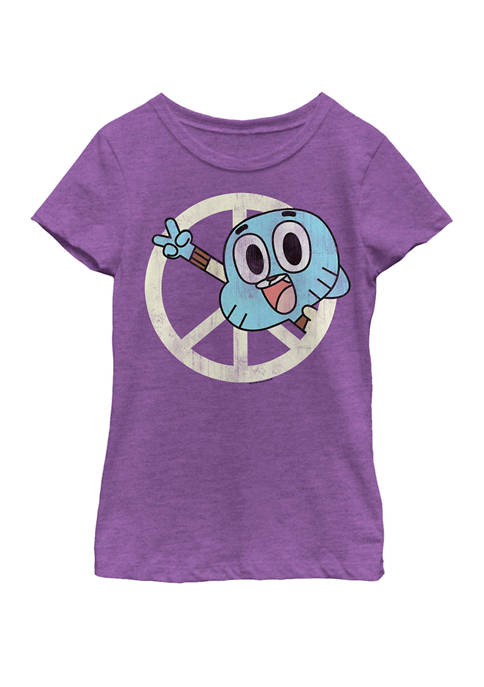 Gumball Peace Sign Vintage Short Sleeve Graphic T-Shirt