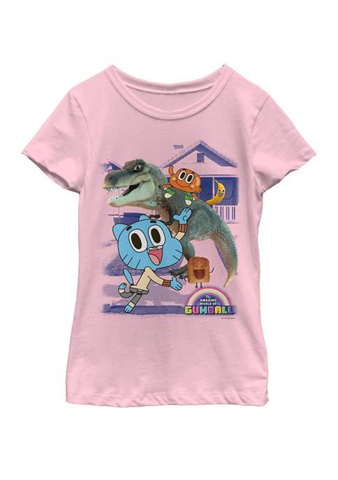 Girls 7-16 Gumball Tina Rex Riding Buddies Short Sleeve Graphic T-Shirt