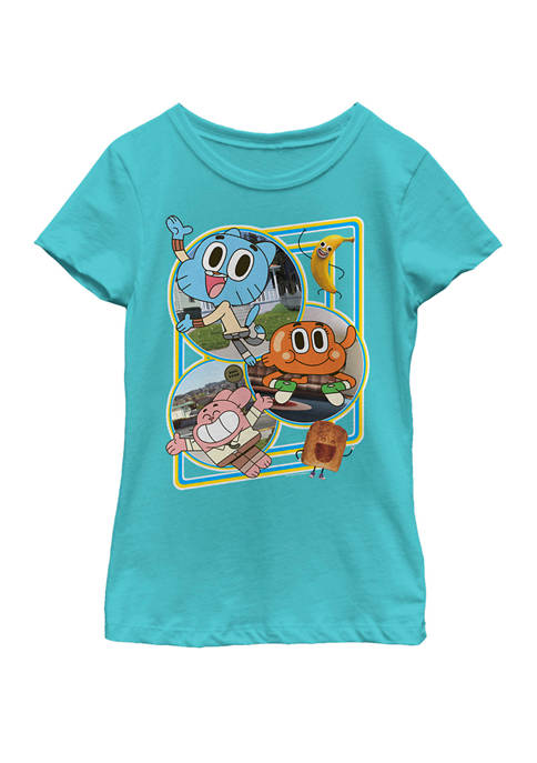 Gumball And Friends Town Scenes Short Sleeve Graphic T-Shirt
