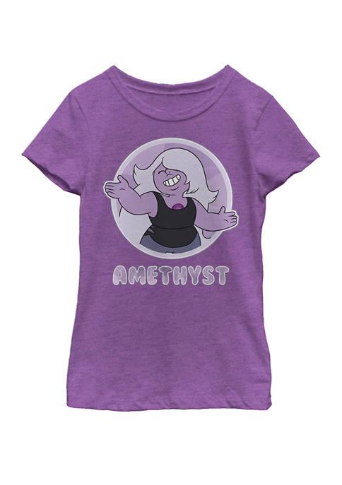 Steven Universe Amethyst Character Badge Short Sleeve Graphic T-Shirt