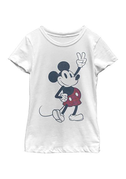 Disney® Mickey Girls 4-6x Plaid Mickey Graphic T-Shirt