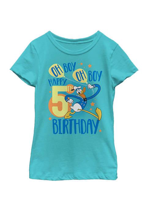 Disney® Girls 4-6x Donalds 5th Bday Graphic T-Shirt