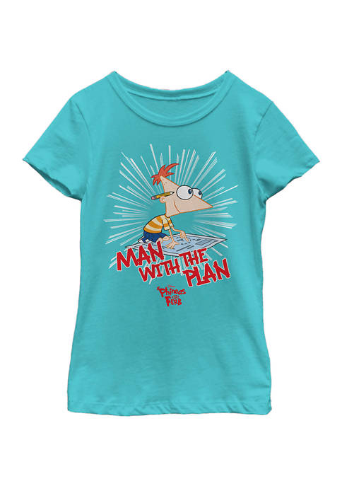 Girls 4-6 Phineas and Ferb The Plan Man Top