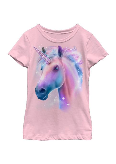 Girls 4-6x Unicorn Face T- Shirt
